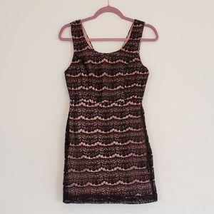 Pretty Blush Pink Lined Black Lace Dress